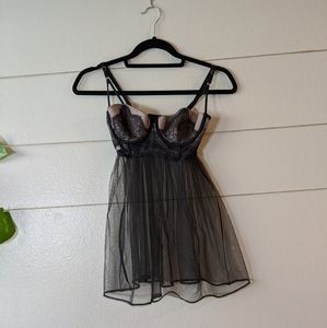 Victoria's Secret Babydoll Black Mesh